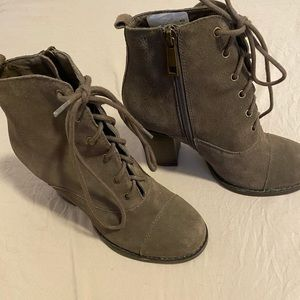 Chinese laundry olive green suede booties